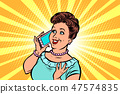 middle-aged woman talking on the phone 47574835