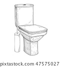 Sketch of toilet bowl and other toiletries 47575027