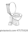 Sketch of toilet bowl and other toiletries 47575028