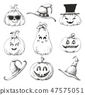 Hand drawn set of pumpkins for Halloween 47575051