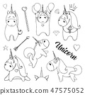 Sketch unicorns with various cute objects 47575052