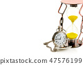 Pocket watch and hourglass isolated on white 47576199