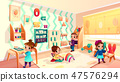 Vector montessori room with children playing games 47576294