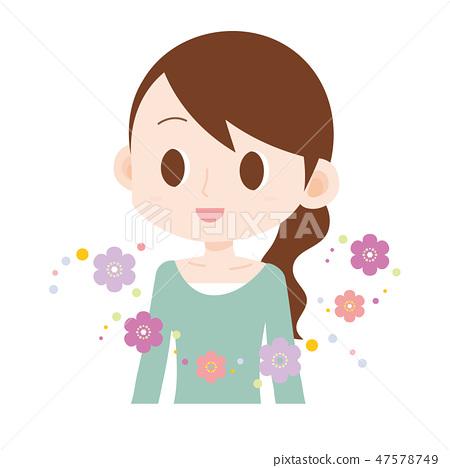 여성 상반신 꽃 향기 봄 47578749