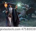 Wizard and dragon scene 3d illustration 47580039
