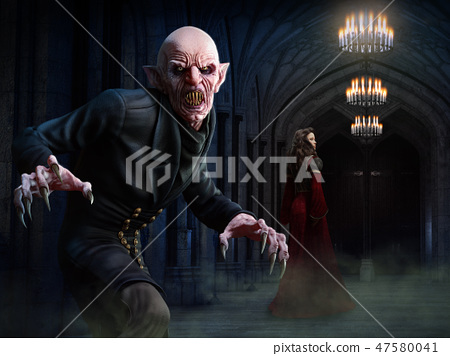 Vampire scene 3D illustration 47580041