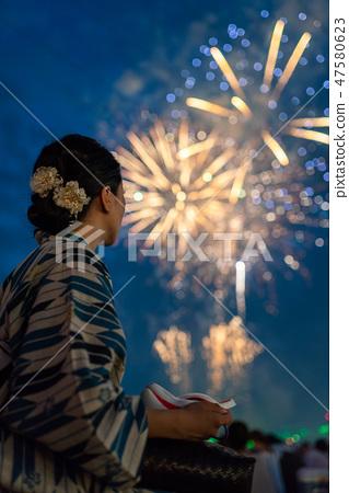 Yukata and fireworks 47580623