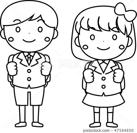 入學典禮新學生男孩女孩新的學期學生 47584850