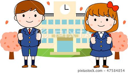 入學典禮新學生男孩女孩新的學期學生 47584854