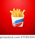 French fries or crisps made of fried potato in carton box on red background 47585404