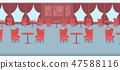 modern restaurant interior design empty no people banqueting luxury wedding hall with red round 47588116