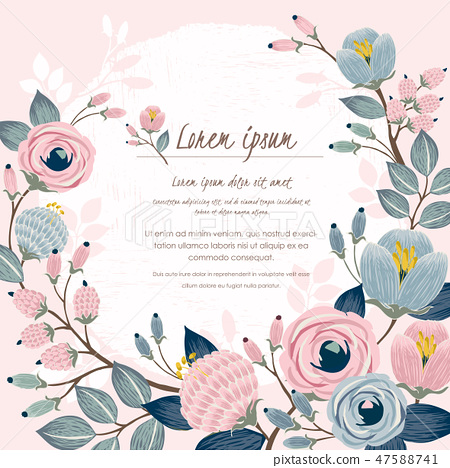Vector illustration of a floral frame in spring 47588741