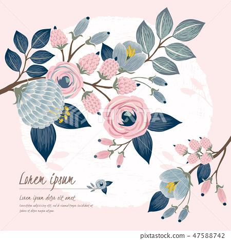 Vector illustration of a floral frame in spring 47588742
