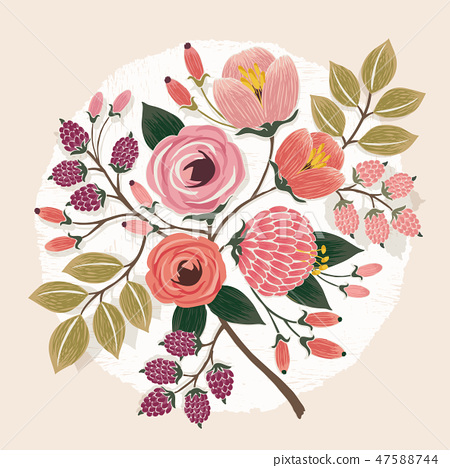 Vector illustration of a floral bouquet in spring 47588744