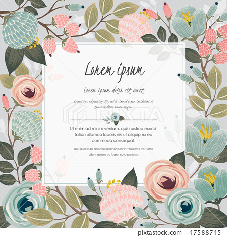 Vector illustration of a floral frame in spring 47588745