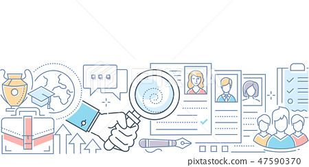 Recruitment - modern line design style vector illustration 47590370
