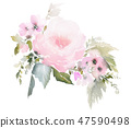Watercolor floral illustration on white background 47590498