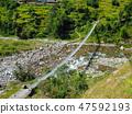 Himalayan metal crossing suspension bridge. 47592193