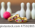 Wedding rings with bowling pin 47592865