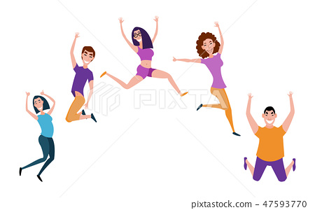 Group of young people jumping with raised hands isolated on white background. Happy positive young 47593770