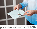 Close-up of a woman with a slim body holding a blue rectangular invitation card in an envelope of a 47593787