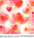 A seamless pattern of red watercolor hearts on a romantic pastel pink background 47595604