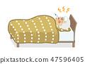 발열 침대에서 寝込む 수석 남성 - 전신 47596405