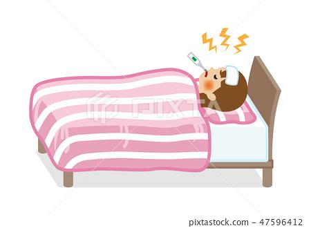 발열 침대에서 寝込む 젊은 여성 - 전신 47596412