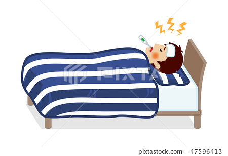 Young man sleeping in bed with fever - whole body 47596413