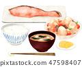 Salmon set meal 47598407