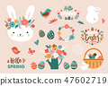 Happy Easter card - cute bunny, eggs, birds and flowers elements, vector illustration 47602719
