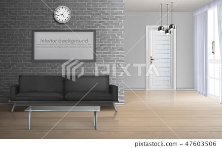 Spacious living room realistic vector interior 47603506