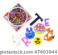 Mix color plastic particles children's mosaic 47603944