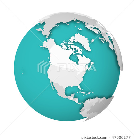 3D Earth globe with blank political map dropping shadow on blue green seas and oceans. Vector 47606177