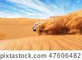 Drifting offroad car 4x4 in desert 47606482