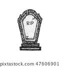 Dotwork Ancient Gravestone 47606901