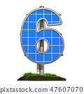 Number 6. Solar panel in shaped of number 6 47607070