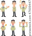 Male 6 types of facial expression and gesture set 47609447