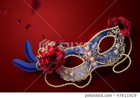 Blue carnival mask 47611929
