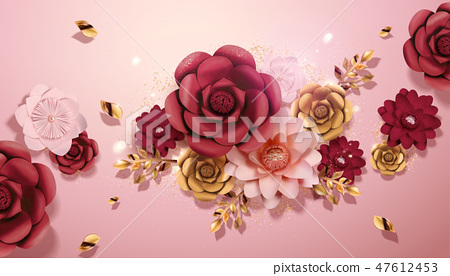 Paper flowers decorations 47612453