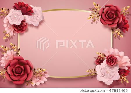 Elegant paper flowers background 47612466