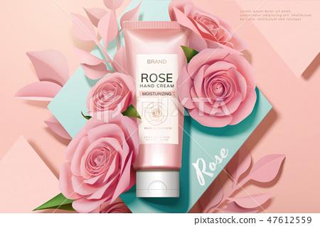 Skincare rose hand cream ads 47612559