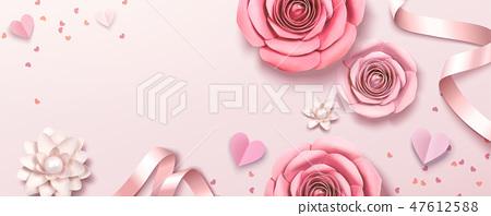 Romantic floral paper template 47612588