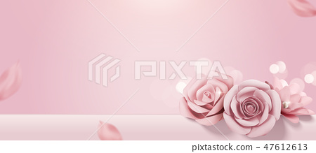 Romantic baby pink paper roses 47612613