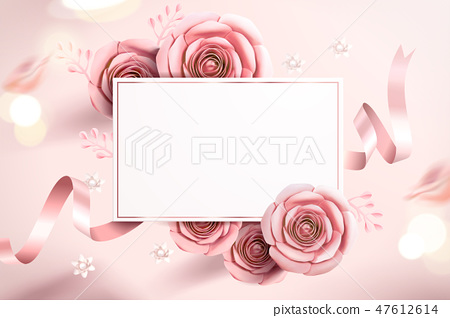 Pink paper flowers card 47612614