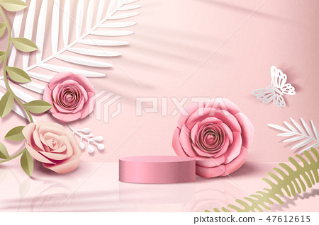 Romantic paper flowers scene 47612615
