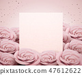 Pink paper rose card template 47612622