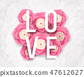 Love words and paper flowers 47612627