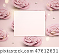 Pink paper rose card template 47612631
