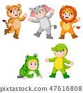 collection children wearing cute wild animal  47616808